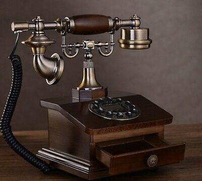 Drawer-Equipped Home Landline Height 28cm Decoration Plastic Cord Telephone #