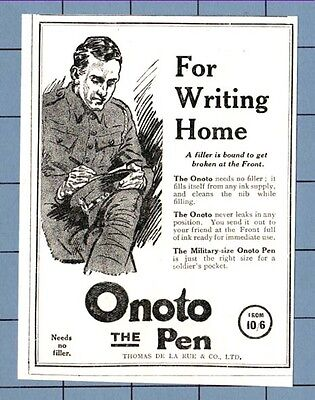 The  ONOTO PEN -- For Writing Home - British Officer  (1915 W.W.1 Advertisement)