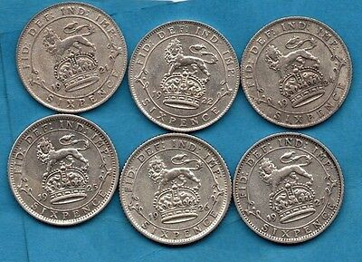 1921 1922 1924 1925 1926 1927.  6 x GEORGE V SILVER SIXPENCE COINS IN NICE GRADE
