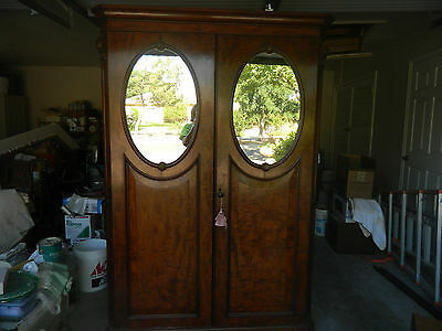 Antique Armoire With Oval Mirrors, Drawers  & Shelves
