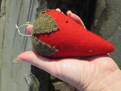 "Primitive Pincushion Wool Felt Red Beaded Strawberry 5"" Long Big Fruit New"