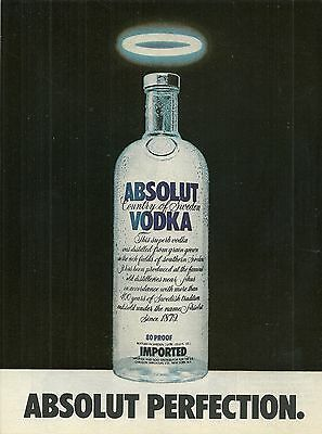 ABSOLUT PERFECTION Vodka Magazine Ad MILK BOTTLE VERSION