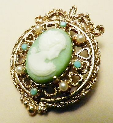 Florenza SIGNED Victorian Revival Gold Filigree Green Cameo Brooch-Faux Pearls