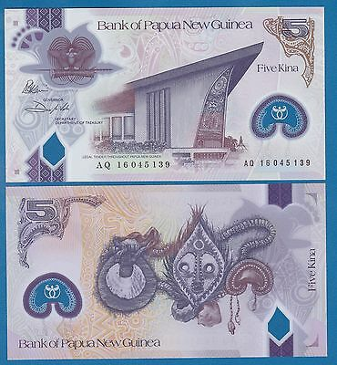 Papua New Guinea 5 Kina P New 2016 / 2017 UNC Low Shipping! Combine FREE Polymer