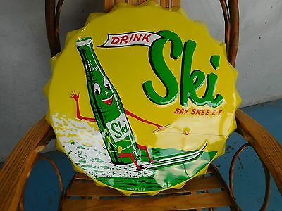 Drink Ski Say Skee-E-E Soda Pop Round Bottle Cap Metal Advertising  Sign