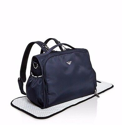 NWT Armani Junior Navy Blue Logo Nylon Changing Diaper Baby Bag Backpack New