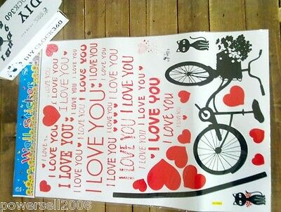Bicycle Bedroom Living Room Background Wall DIY Combination Wall Stickers 10 PCS