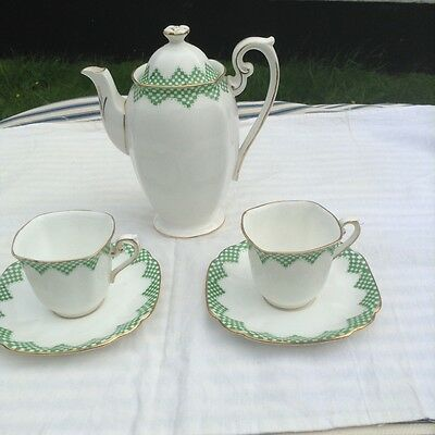 Royal Standard  China  coffeepot and two expresso cup and saucers, Tudor style