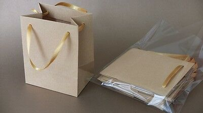 Extra small natural brown gift paper bags golden ribbon handles PK of 10