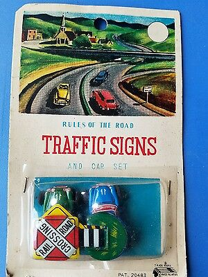 Traffic Control Tin Vintage Toy Cars & Signs Original Package Japan 1950