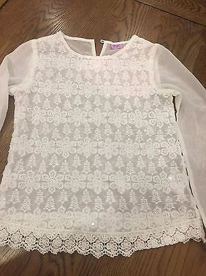 Sheer White Long Sleeved Embroidered Top, Blouse, Age 9-10 Years