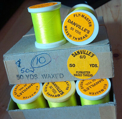 Danville's, Fly Master, 6/0, Waxed, 50 yard, Fluorescent Yellow, box of 12