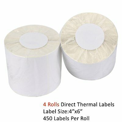 4 Rolls Direct Shipping Thermal Labels 450/Roll 4x6 For Zebra Eltron 2844 ZP450