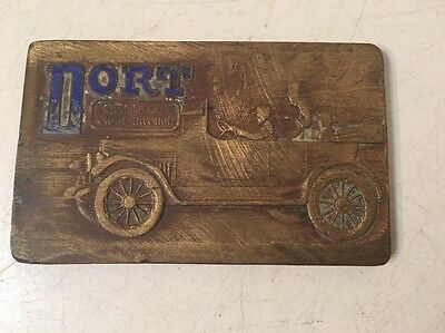 Rare Antique Dort Motor Car Brass Advertising Plaque Paperweight Early
