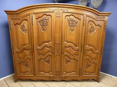 Large French Armoire - Wardrobe - Good  Quality - Solid Oak - v42