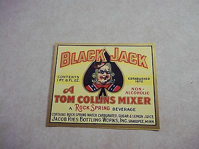 1940's BLACKJACK SODA MIXER BOTTLE LABEL Jacob Ries SHAKOPEE Minnesota Mn. Pop