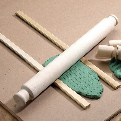 Pottery Clay Making Wooden Rolling Pin & Glider Set - Rrp £19.99