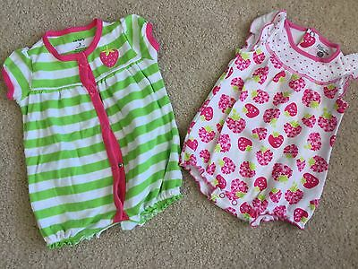 2 Adorable Baby Girl Rompers Size 3 Months And 3-6 Months.
