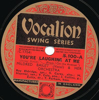 "78er Jazz 30er Jahre Vocalion-Swing-Series Mildred Bailey ""You're Laughing At Me"