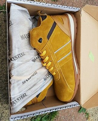 Mens Safety Steel Toe Cap Trainers Leather Lace Work Shoes Boots Size