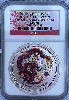 2012 P Australia Silver $1 Year Of The Dragon Brisbane Anda Coin Show Ngc Ms70