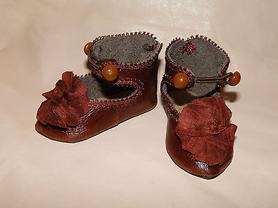 """Leather rusty-brown shoes French Jumeau style for antique doll 3"""""""