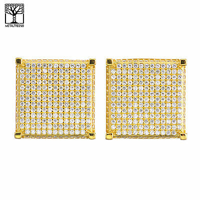 Men's Iced Out 14K Gold Plated Micro Pave Block CZ Screw Back Earrings SHS 476 G
