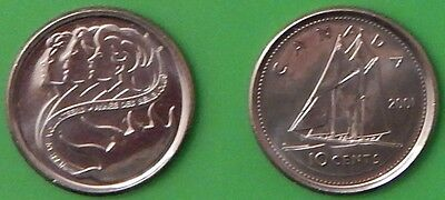 2001 Canada Regular & Special 10 Cents Both From Mint Rolls