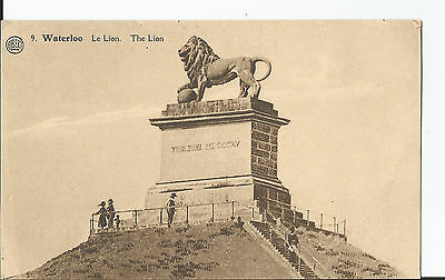 Vintage postcard, The Lion, Le Lion, Waterloo, Belgium