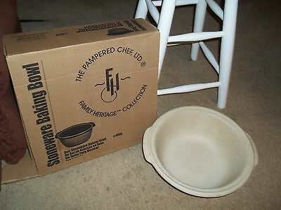 """Pampered Chef Stoneware Baking Bowl Family Heritage Collectible #1450 12"""""""