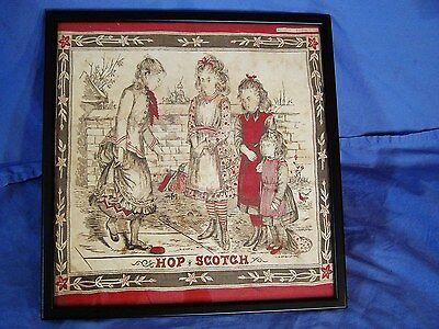 Antique Handkerchief Children HOP SCOTCH Washington S H Greene & Sons c1900