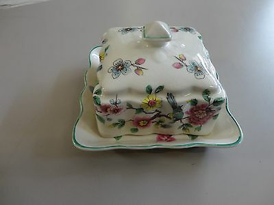 Vintage James Kent  England Old Foley Chinese Rose Butter Dish with Lid