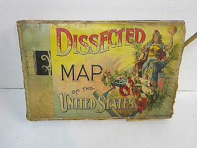 dissected map of the united states wooden jigsaw puzzle mcloughlin brothers