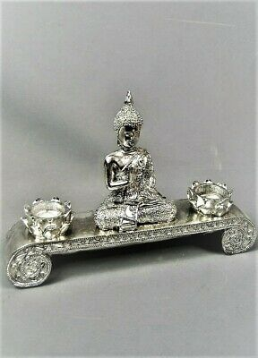 Silver Buddha Pyramid Incense Burner Candle Holder Ornament
