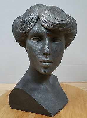 Vintage Retro 80s MANNEQUIN DISPLAY HEAD! Feathered Haircut Hairstyle jewelry