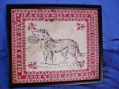 Antique Handkerchief DOG Washington Coming Thro' The Rye S H Greene &Sons c1900