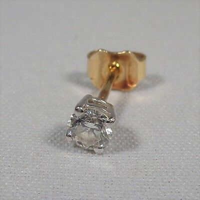 0.20ct Solitaire Diamond Single Stud Earring In 18ct 750 Yellow Gold (SI1)