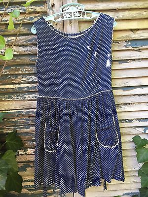 Vintage Retro 1950's 1960's Girls Navy and White Swiss Dot Dress size 7