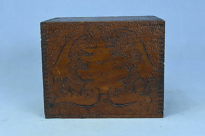 Antique FLEMISH ART PYROGRAPHY WOODEN SHIPPING STYLE BOX LADY SQUIRRELS RARE OLD