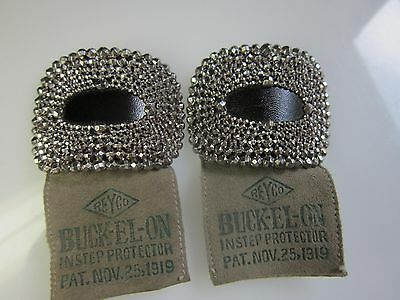 Rare Mint Condition Antique Steel Cut Shoe Buckles Reyco with Original Tag