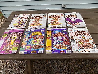 Lot of 8 vintage Count Chocula cereal boxes by General Mills 1988-1998