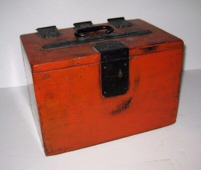 Vintage Asian Japanese Red Lacquer Ballot Box With Hinged Cover & Handle