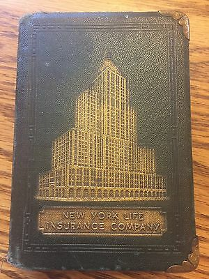 VINTAGE NEW YORK LIFE INSURANCE CO. Leather BOOK BANK. William Elmer Insurance