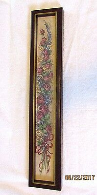 "Home Interior Picture Rose Floral Swag Barbara Mock Homco 23-3/8 ""x 4-3/8"" Frame"