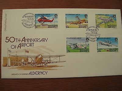 1985 Alderney '50Th Anniv Airport' First Day Cover