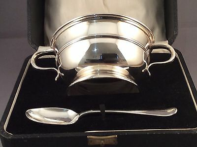 Boxed Antique Solid Silver Porringer/Bowl and Spoon, Sheffield C1931