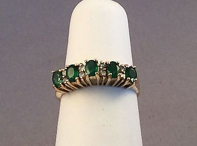 18ct GOLD, EMERALD and DIAMOND RING. SIZE N+