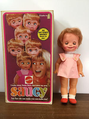 Vintage Mattel Saucy Doll In Original Box Face Changes Light Pink Dress