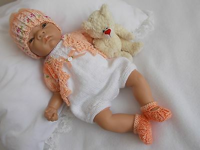 """Dainty Doll Designs - Hand Knitted Romper Set To Fit An 18"""" Baby Doll/reborn"""