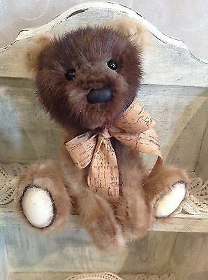 """""""Tucker """" OOAK 10"""" Recycled Buff and Champagne  Mink Teddy Bear"""